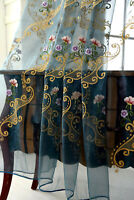 Quality Vintage Floral Golden Trim Embroidered  Sheer Curtain Panel Countryside