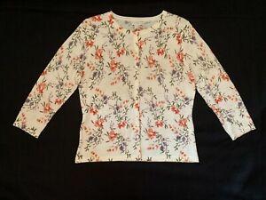 GARNET HILL Women's Sweater Cream Multicolor Floral Merino Wool Cardigan Size M