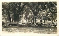 Niobrara Island Nebraska~Picnic Grounds~Rustic Swing 1940 Postcard RPPC