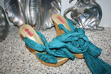 Nordstrom Boutique SZ 7 AQUA wedge heels shoes sexy ribbon PLATFORM sandals Eva
