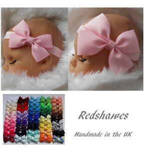Large Bow Baby Headband soft elastic 3 or 4 inch bow Birthday All sizes UK made