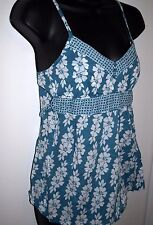 Urban Heritage Size Medium Womens Blue and White Floral Empire Waist Top