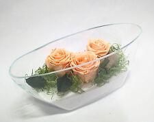 ROSE disidratate stabilizzate  in vaso ciotola ovale vetro  fiori artificiali