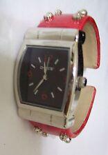 Pretty Red Leather CHICOS Cuff Bracelet Watch