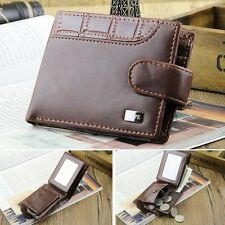Men's Wallet Leather Bifold Billfold Coin Purse Handbag ID Card Holder Coffee
