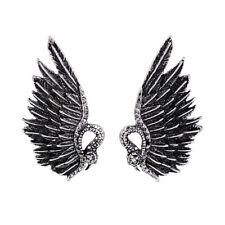 earrings Nails Silver Wing Eagle Art Deco Grey Retro AA21