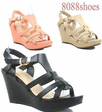 Women's Open Toe Strappy Buckle Wedge Platform Sandal Shoes Size 6 - 10 NEW