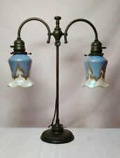 TIFFANY STUDIOS, DOUBLE ARM STUDENT LAMP w QUEZAL BLUE HOOKED FEATHER SHADES~~~