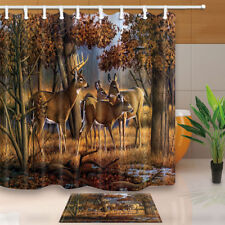Deer Whitetail Elk in Forest Waterproof Polyester Fabric Shower Curtain Bathroom