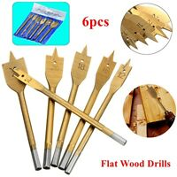"6Pc 1/4"" Hex Shank Spade Flat Wood Boring Drill Bit Set 10/12/16/18/20/25mm Gold"
