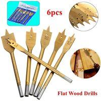 """6Pc 1/4"""" Hex Shank Spade Flat Wood Boring Drill Bit Set 10/12/16/18/20/25mm"""