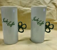 2 Vintage Toscany Irish Coffee Cups, Handle is a Cute Green Clover,Made in Japan