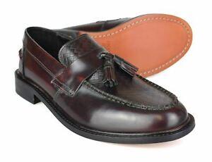 Ikon Weaver Patent Bordo Leather Tassled Loafer Mod Shoes Free UK P&P!