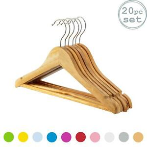 20 Childrens Wooden Coat Hangers Kids Clothes Trouser Hanger Bar Wood