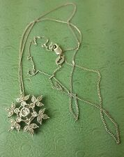 Zales STERLING SILVER DIAMOND Snowflake PENDANT with NECKLACE 20""