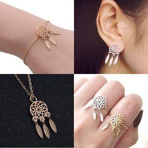 Silver/Gold Alloy Dreamcatcher Feather Chain Pendant Jewellery Dream catcher Lot