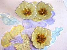 ANTIQUE GUILLOCHE ENAMEL STERLING SILVER YELLOW PANSY FLOWER EARRING & PIN SET