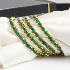 Indian Bollywood Gold Plated Green American Diamond Bangle Bracelet Jewelry Set