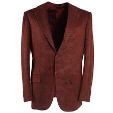 NWT $7495 KITON Brick Red Check Soft Cashmere Sport Coat 38 R (Eu 48)