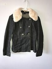 Theory Jean Jacket Double Button Down Coat Beaver Fur Trimmed Collar Hooded $495