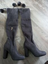 New with box Kelsi  Grey Thigh High Heel Stretch Over Knee  Boots 5uk
