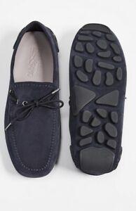 Salvatore Ferragamo Atlante Suede Driving Shoes Dark Blue 8E New In Box