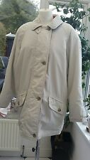 M&S WOMANS OFF WHITE WITH RED TRIM LIGHTLY PADDED MAC CAR COAT - UK SIZE 12