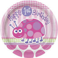"8 Pink Ladybug Girl's Happy 1st Birthday Party Large 9"" Disposable Paper Plates"