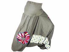 Sarouel Femme Pantalon Ethnique Aladin Harem Pant 100% Coton vert kaki