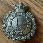 Vintage Nickel Metal Irish Lights Lighthouse Keepers Victoria Crown Cap Badge az