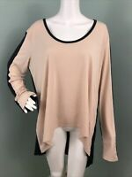 NWT Women's BCBGMAXAZRIA L/S Asymmetric Hem Color Block Blouse Top Sz XL