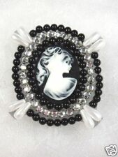 0388~ BLACK BEADED CLEAR JEWEL CAMEO APPLIQUE 2.75""