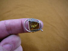 (8.25-5) AMBER GREEN Poland .925 Sterling SILVER RING size 8.25 Jewelry gem