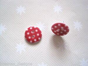 CUTE RED WHITE POLKA DOT SPOT BUTTON STUD Earrings 15mm Gift Bag Rockabilly