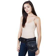 New Black Leather Waist Fanny Pack Belt Bag Pouch Travel Hip Purse-70139