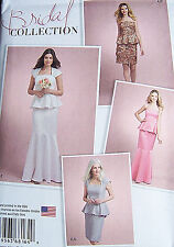 NEW pattern BRIDAL GOWN dress 2 piece peplum slim flared skirt sz 12-20 PROM WOW