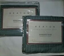 Keaton Gray  Standard Shams Quilted New In Package 100% cotton 20 x 26