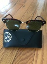 RAY BAN ORIGINAL VINTAGE CLUBMASTER GREEN AND TORTOISE SUNGLASSES WITH CASE