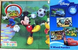 Disney 3 Real Wood Puzzles In Storage Box, 24 Pieces Each Factory Sealed