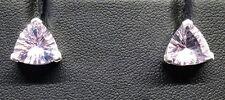 925 Sterling Silver Rose De France Amethyst Trillion Earrings BNIB Sell Ref 51