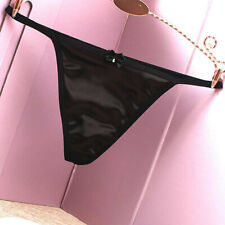 Women Satin Sexy G-string Thong Panties  Low Waist Pearl Bowknot Underwear Brief