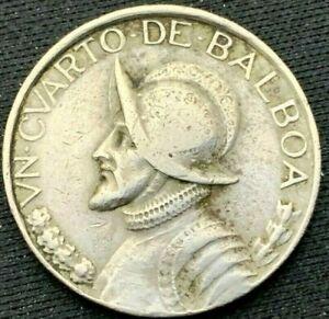 1982 Panama 1/4 Balboa Coin  XF    Copper Nickel    #K411