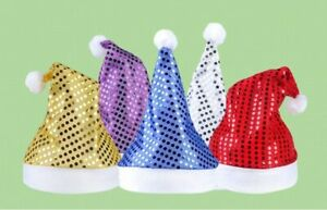 Sequined Hat For Christmas Party Head Wears Costumes Cap Santa Claus Shiny Hats