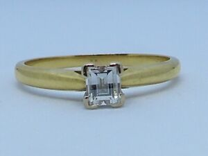 PERFECT 42 POINT EMERALD CUT DIAMOND  J/VS1 SOLITAIRE RING SIZE N