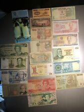 Group Lot of  19 Paper Money Banknotes World Foriegn Currency Collectors Notes