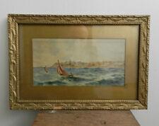 Antique watercolour painting nautical seascape gilt frame