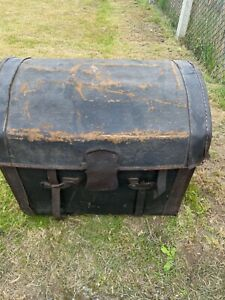 Beautiful Vintage Antique Leather very old Domed Trunk Chest Box. One of a kind