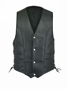 New Motorbike Leather Hi Vest Motorcycle Hi Viz Mens Waistcoat Classic Vase Coat