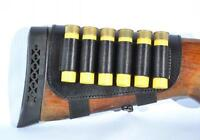 Shotgun Cartridge Ammo Bandolier Holder Leather w/ 6 Pockets Buttstock 12 Gauge