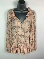 WOMENS LAURA ASHLEY PINK&GREY FLORAL GYPSY STYLE CASUAL BLOUSE TOP SIZE UK 14